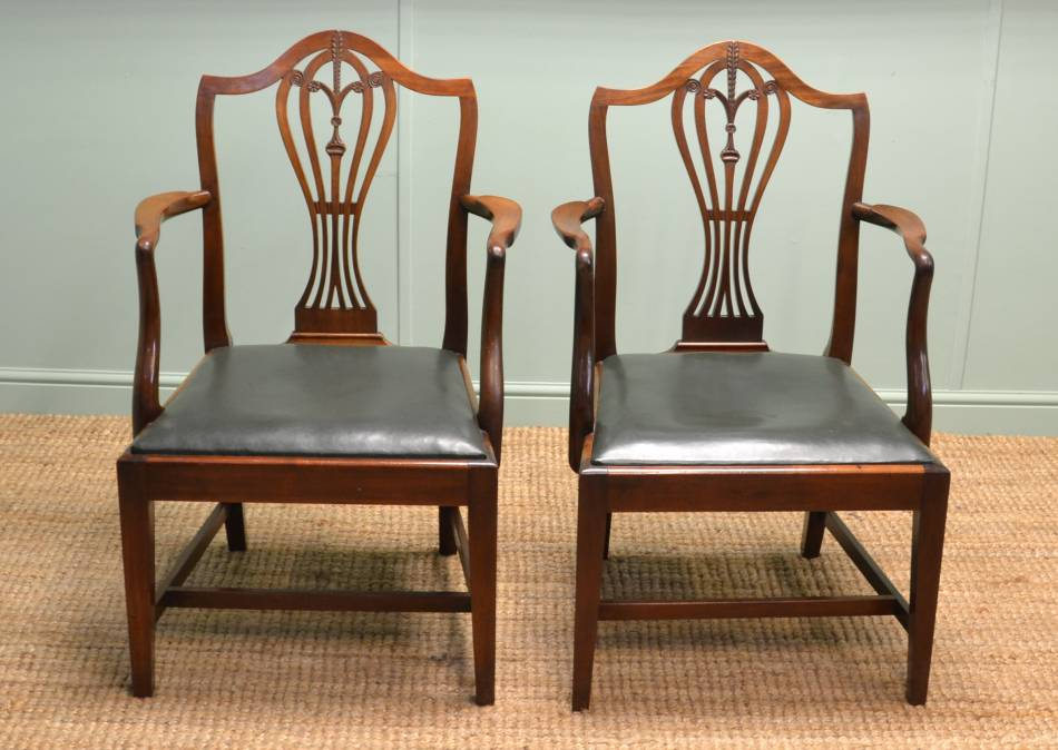 Pair of Superb Quality Victorian Mahogany Antique Carver Armchairs.