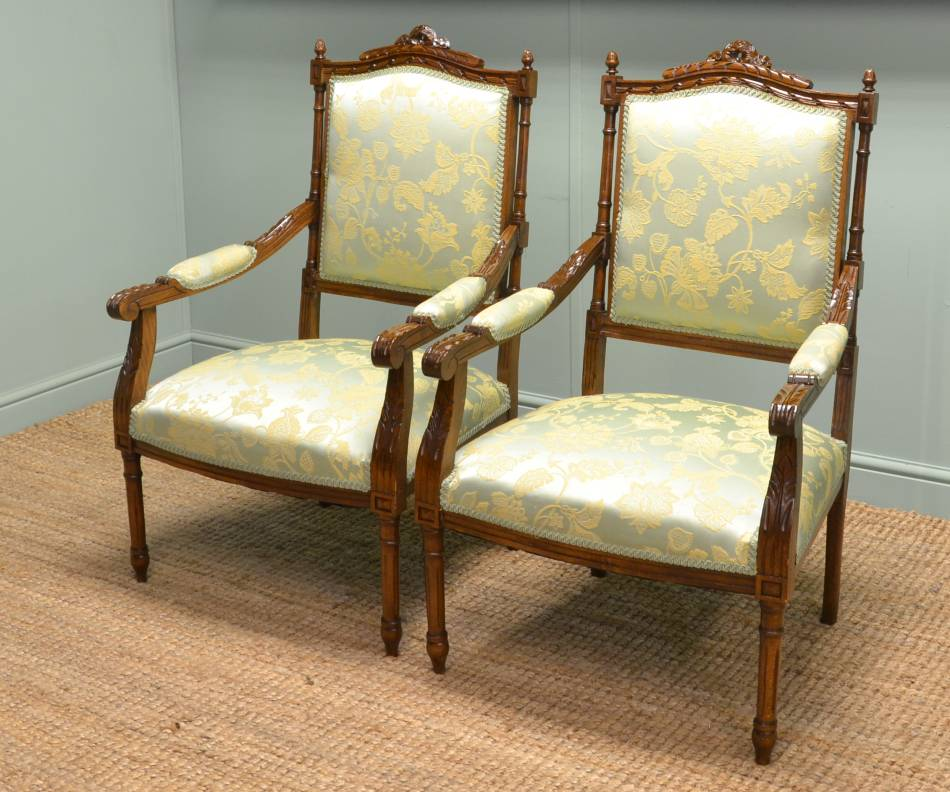 Quality Pair of Antique Walnut French Fauteuils.