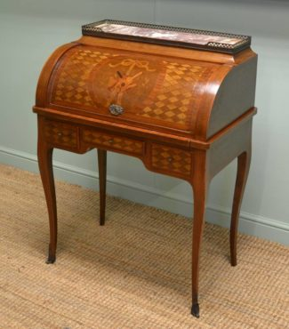 Fabulous Quality French Marquetry & Parquetry Antique Cylinder Bureau.