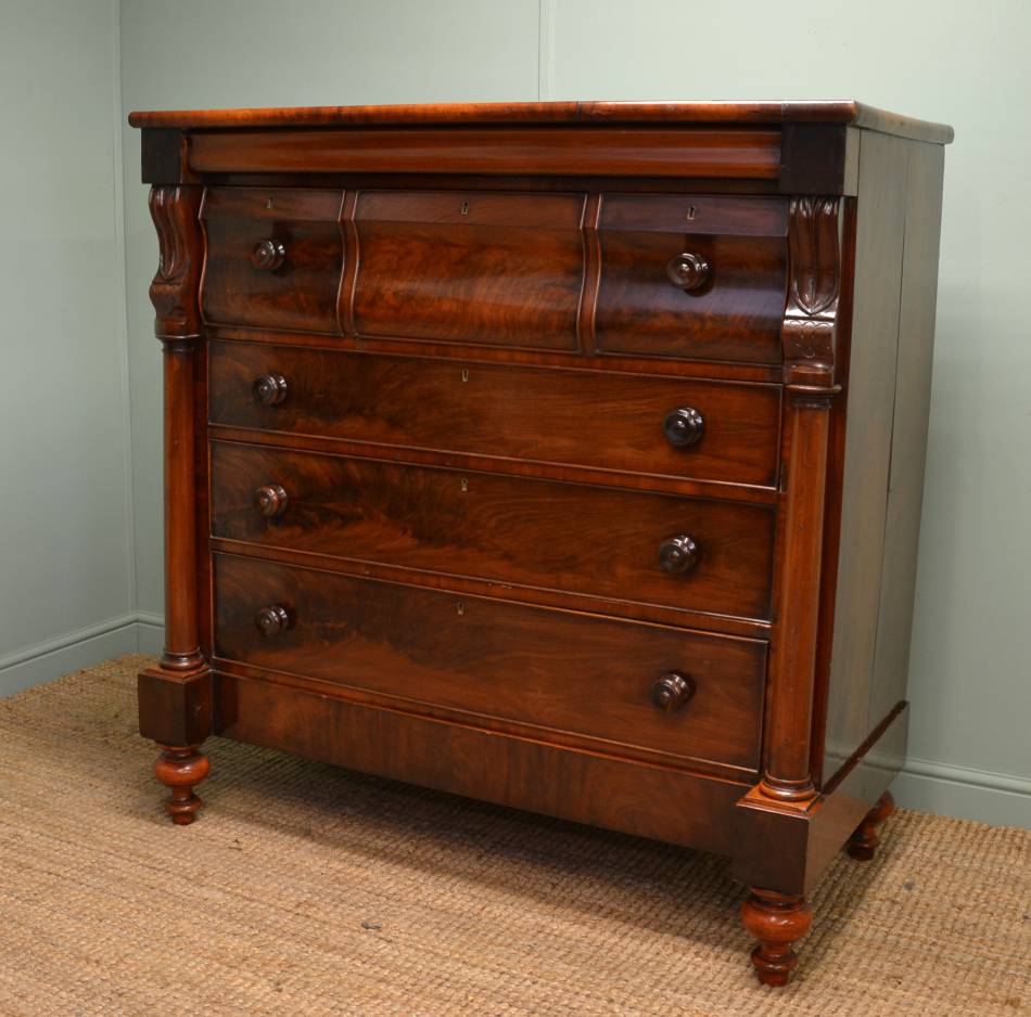 Magnificent Quality Victorian Mahogany Antique Scottish Chest of Drawers.