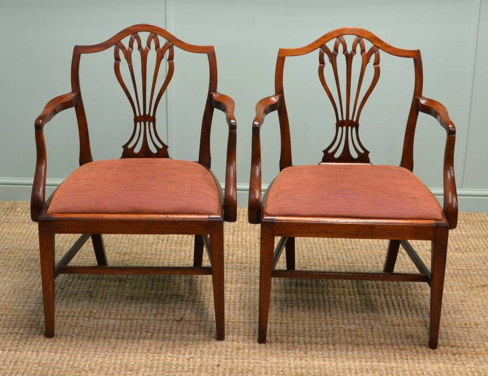 Pair of Quality Georgian Mahogany Antique Carver Armchairs.