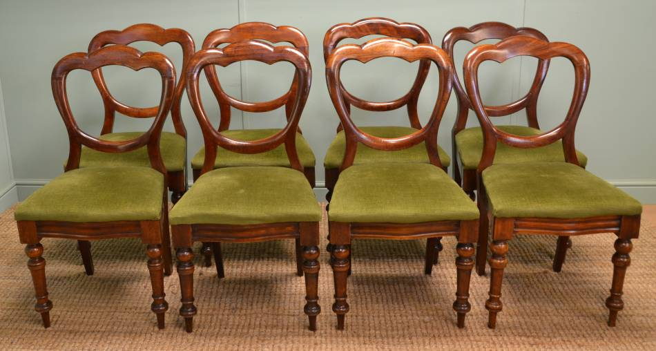 Set of Eight Antique Victorian Balloon Back Mahogany Dining Chairs.
