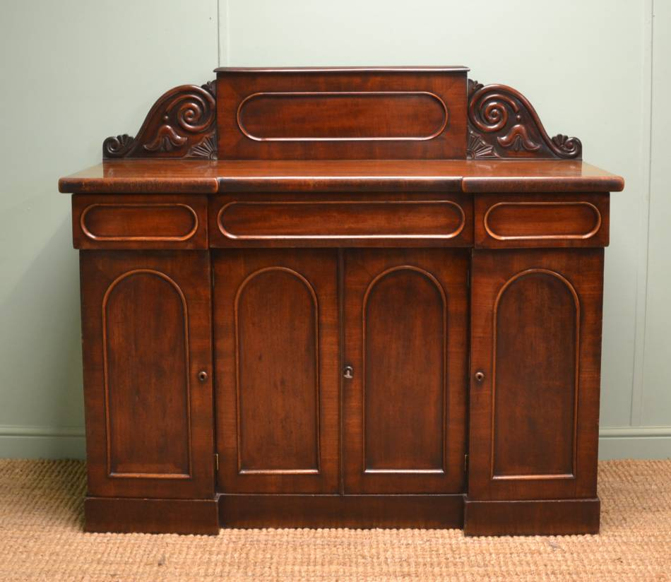 Small Victorian Mahogany Four Door Antique Sideboard / Chiffonier.