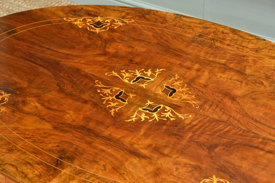 Quality Inlaid Figured Walnut Antique Coffee Table.