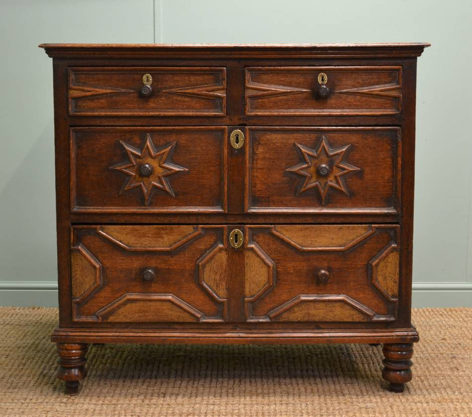 Rare 17th Century Period Oak Antique Chest of Drawers.