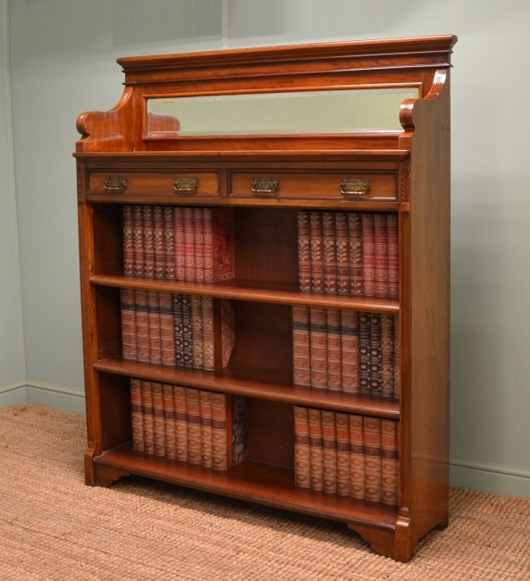 Victorian Arts and Crafts, Walnut Antique Open Bookcase with Mirror.