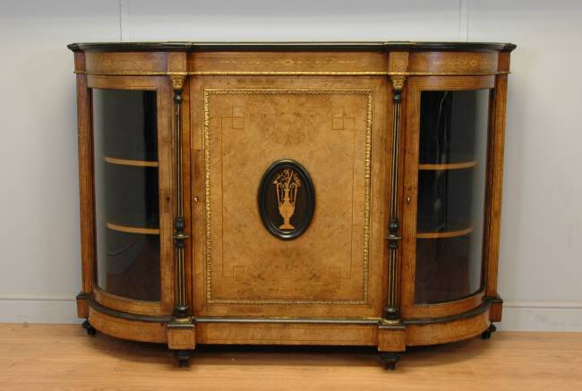 Victorian Burr Walnut Antique Credenza of the Finest Quality