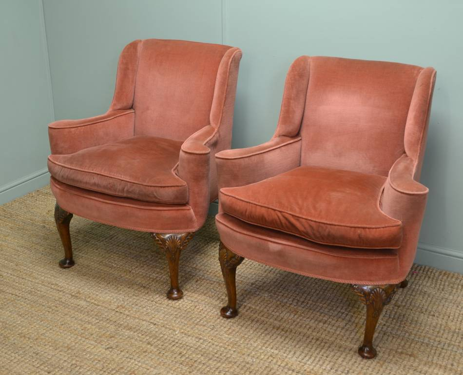 Pair of Quality Antique Edwardian Upholstered Fireside Chairs