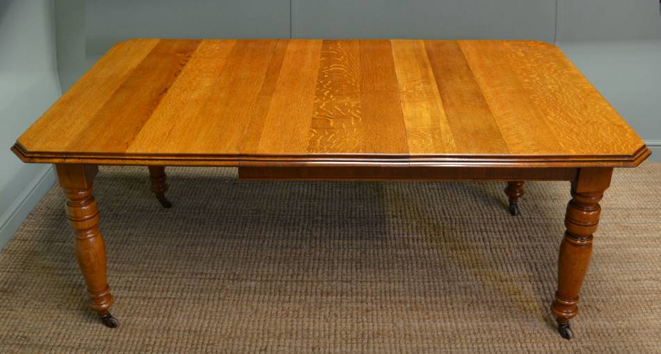 Golden Oak Victorian Antique Wind-Out Extending Dining Table.