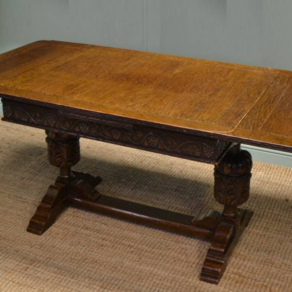 Attractive Quality Edwardian Oak Draw Leaf U0027Pineappleu0027 Antique Dining Table.   Antiques  World
