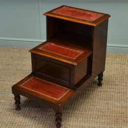 Victorian Mahogany Antique Bed Steps / Library Steps.