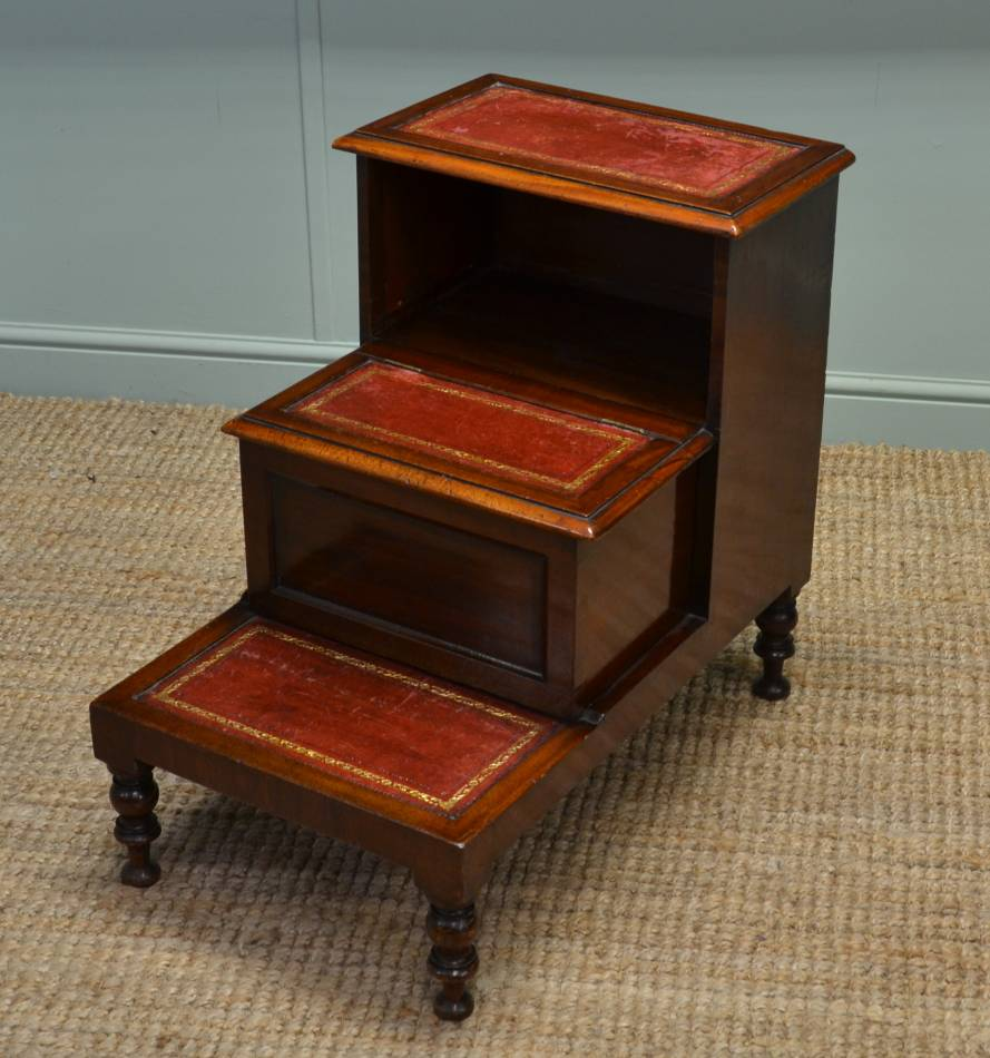 Victorian Mahogany Antique Bed Steps Library Steps