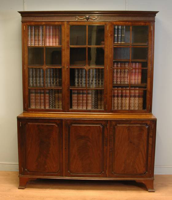 Edwardian Mahogany Antique Library Bookcase – by A. Gardner & Son of Glasgow.