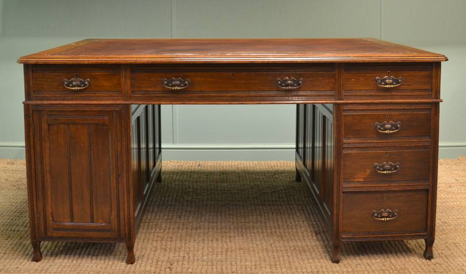 Large Victorian Oak Antique True Partners Desk.
