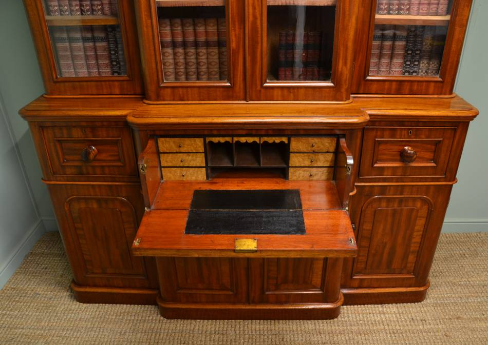 Large Victorian Mahogany Break Fronted Antique Secretaire Library Bookcase.