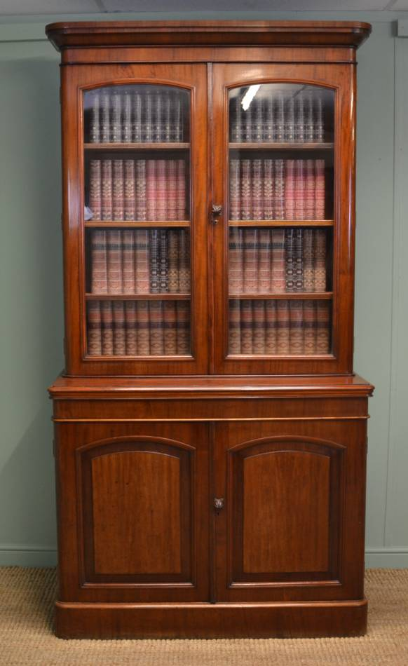 Victorian Mahogany Glazed Antique Barristers Bookcase Above Fitted Cupboard.