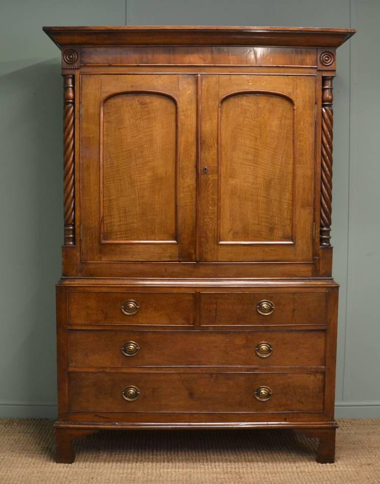 Regency Antique Oak Welsh Harness Cupboard / Wardrobe.