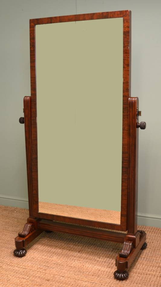 Quality Antique Mahogany Gillows Style Regency Cheval Mirror.