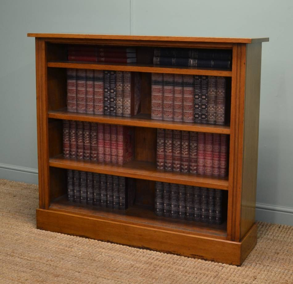 Large Victorian Quality Oak Antique Open Bookcase.