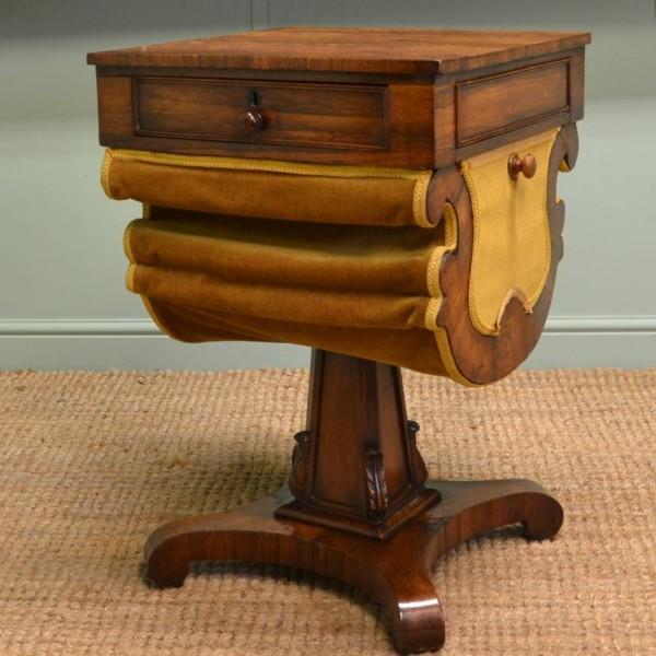 Antique William IV Rosewood Workbox.