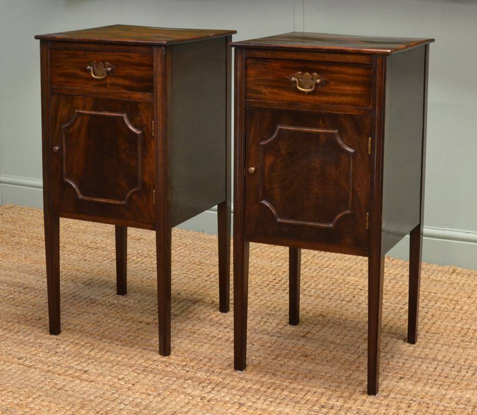 Pair of Edwardian Walnut Antique Bedside Cabinets.