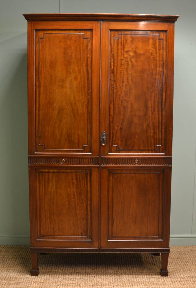 Edwardian Mahogany Double Antique Wardrobe