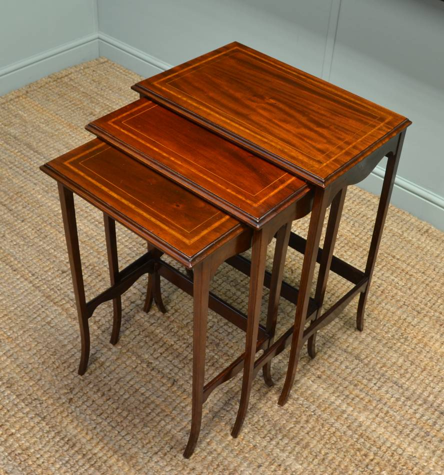 Nest of Three Edwardian Inlaid Mahogany Antique Tables.