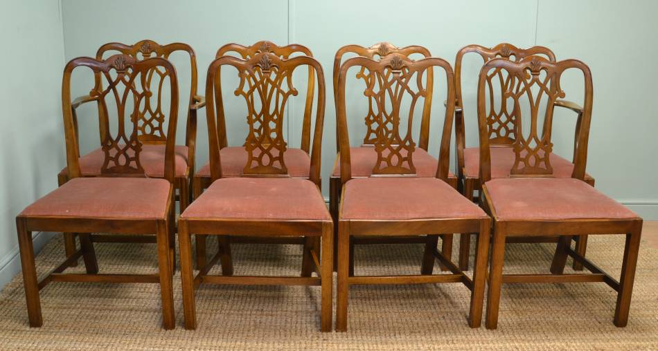 8 Antique Mahogany Chippendale Style Dining Chairs.