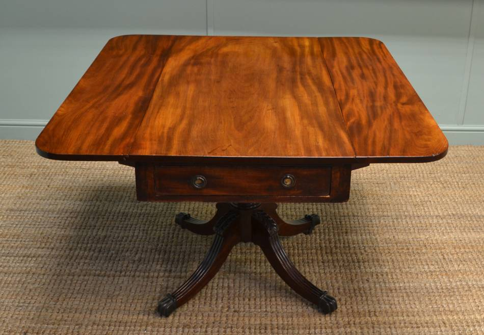 Regency Mahogany Small Antique Dining Table / Drop Leaf Table.