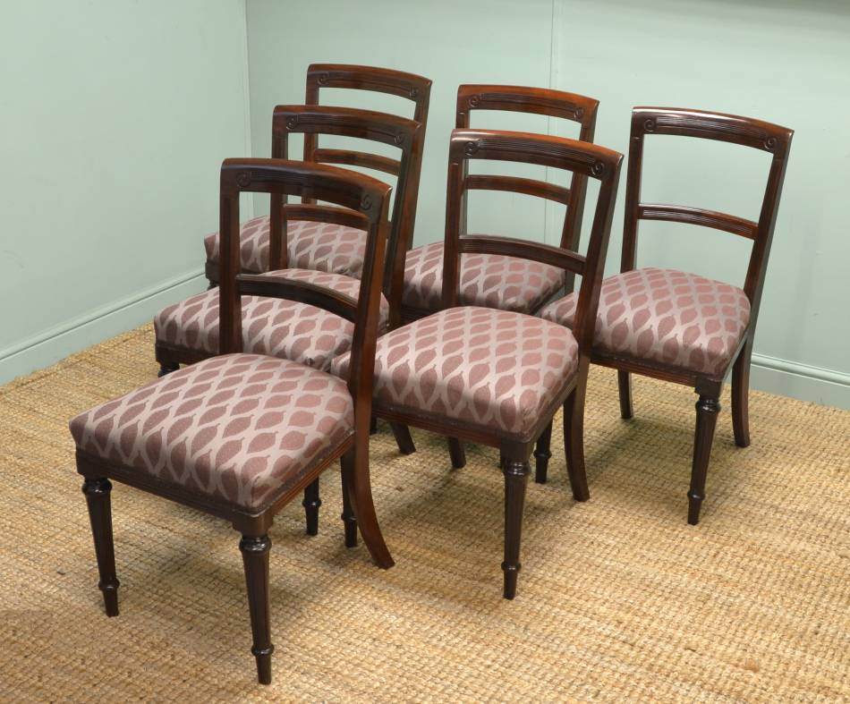 Quality Set of Six Victorian Mahogany Antique Dining Chairs.