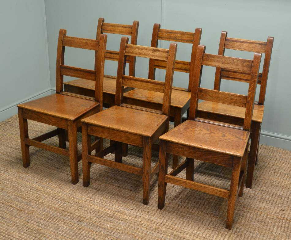 6 Arts & Crafts Solid Oak Country Antique Chairs