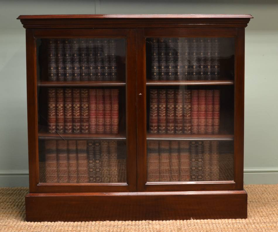 Quality Edwardian Walnut Glazed Antique Bookcase