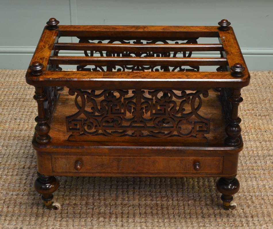Superb Quality, Victorian, Figured Walnut, Antique Canterbury / Magazine Rack