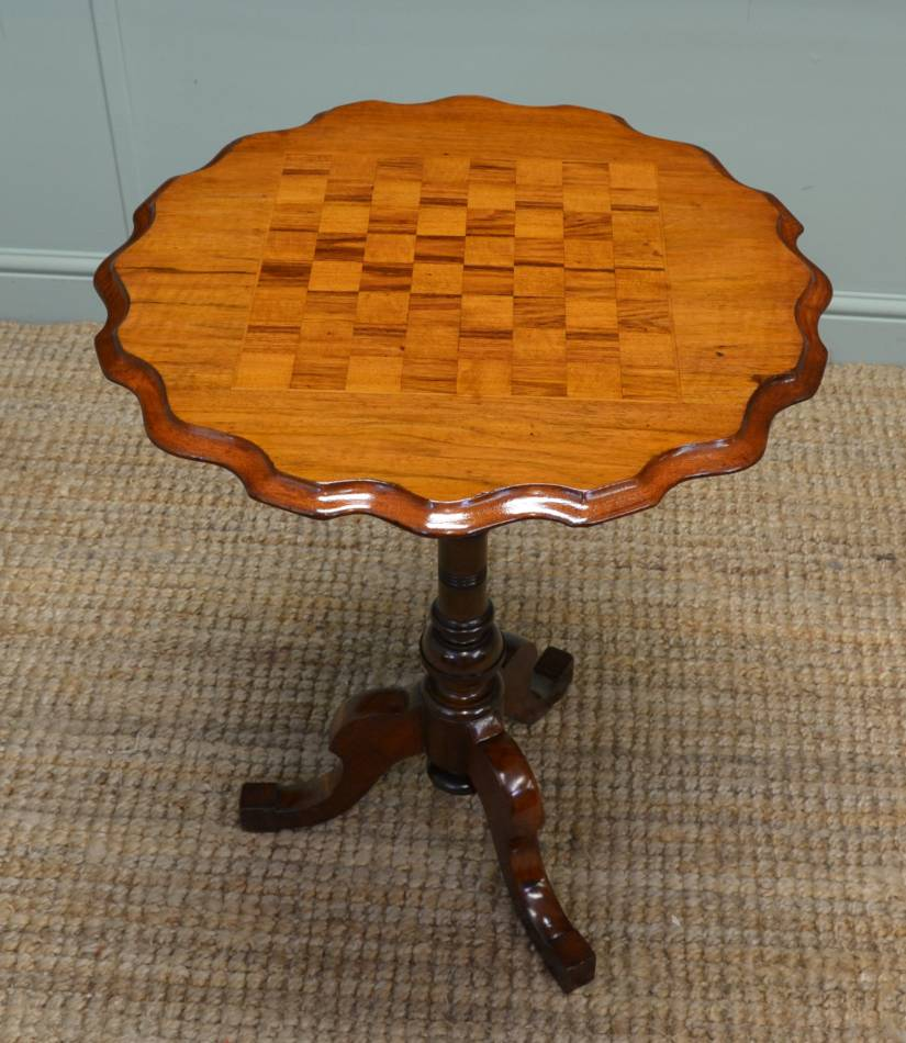 Victorian Walnut Chess Top Occasional Antique Table