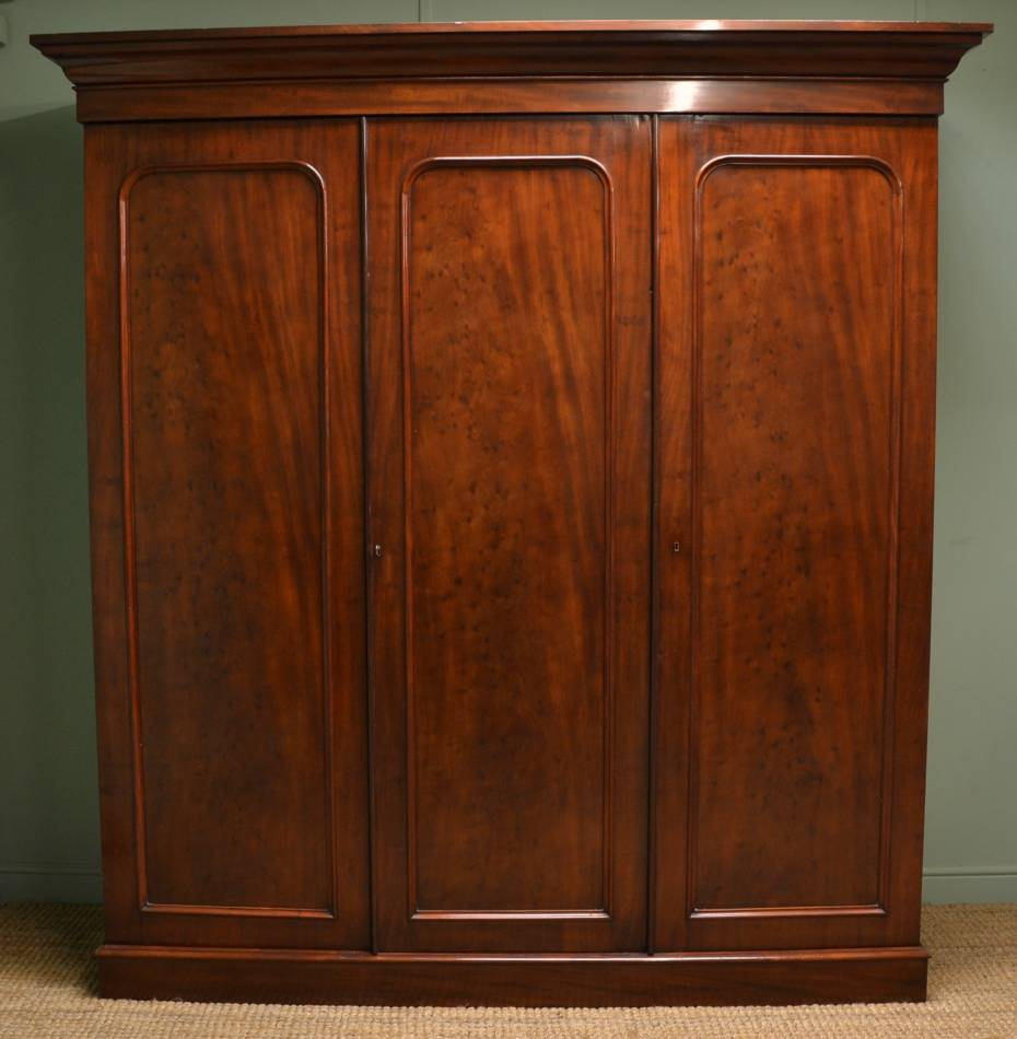 Quality Victorian Antique Mahogany Triple Wardrobe.