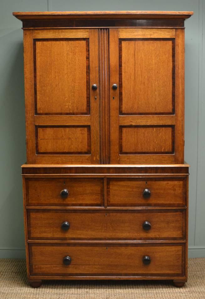 Regency Oak Cross Banded Antique Country Press Cupboard.