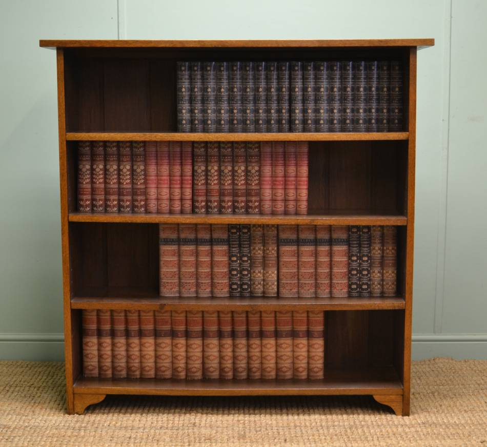 Tall, Antique, Solid Oak, Arts & Crafts Open Barristers Bookcase.