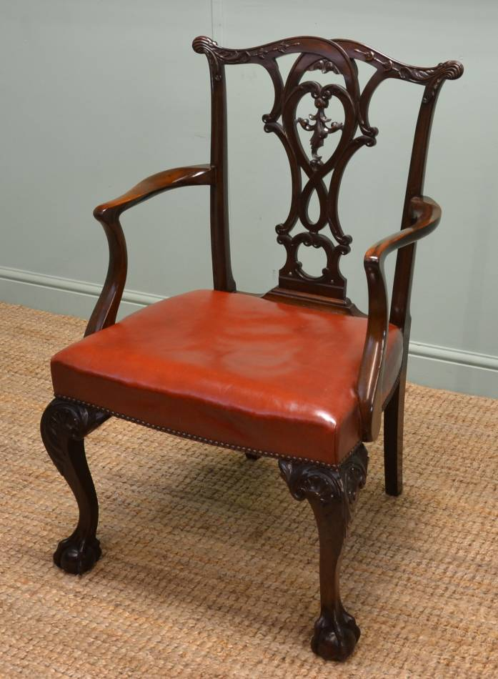 Quality Edwardian, Chippendale Style, Antique Walnut Carver Armchair.