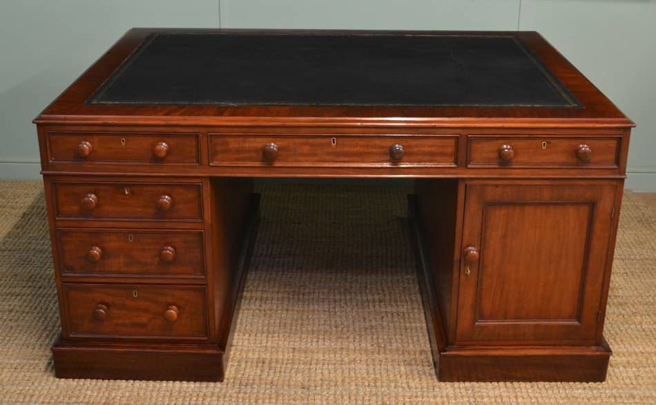 Stunning, Large, Victorian Antique Mahogany Partners Desk.