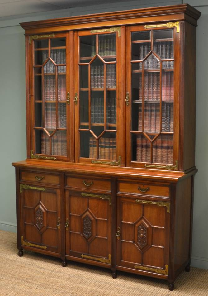 Quality Walnut Antique Victorian Library Bookcase by Maple & Co.