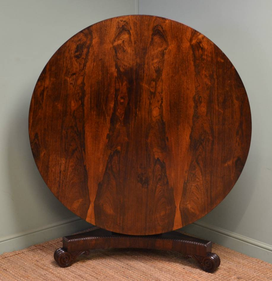 Beautiful Rosewood Circular Antique Dining Table / Breakfast Table.