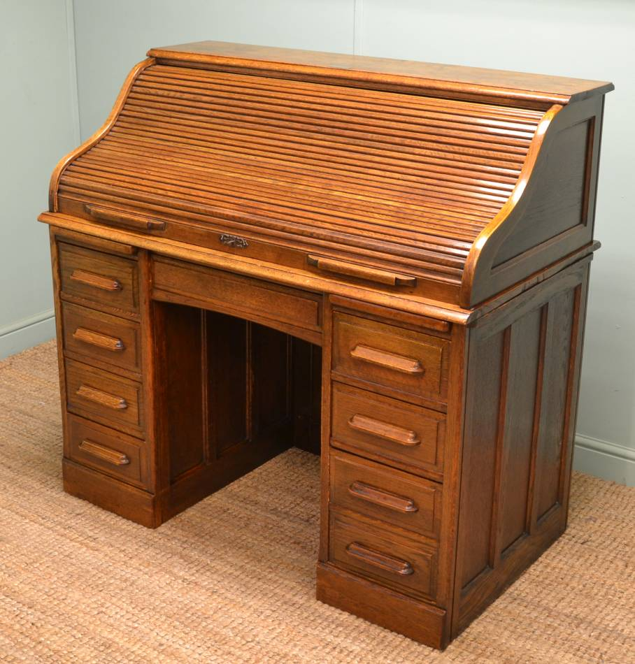 Edwardian Oak Roll Top Desk presented to a Mr Henry Robinson
