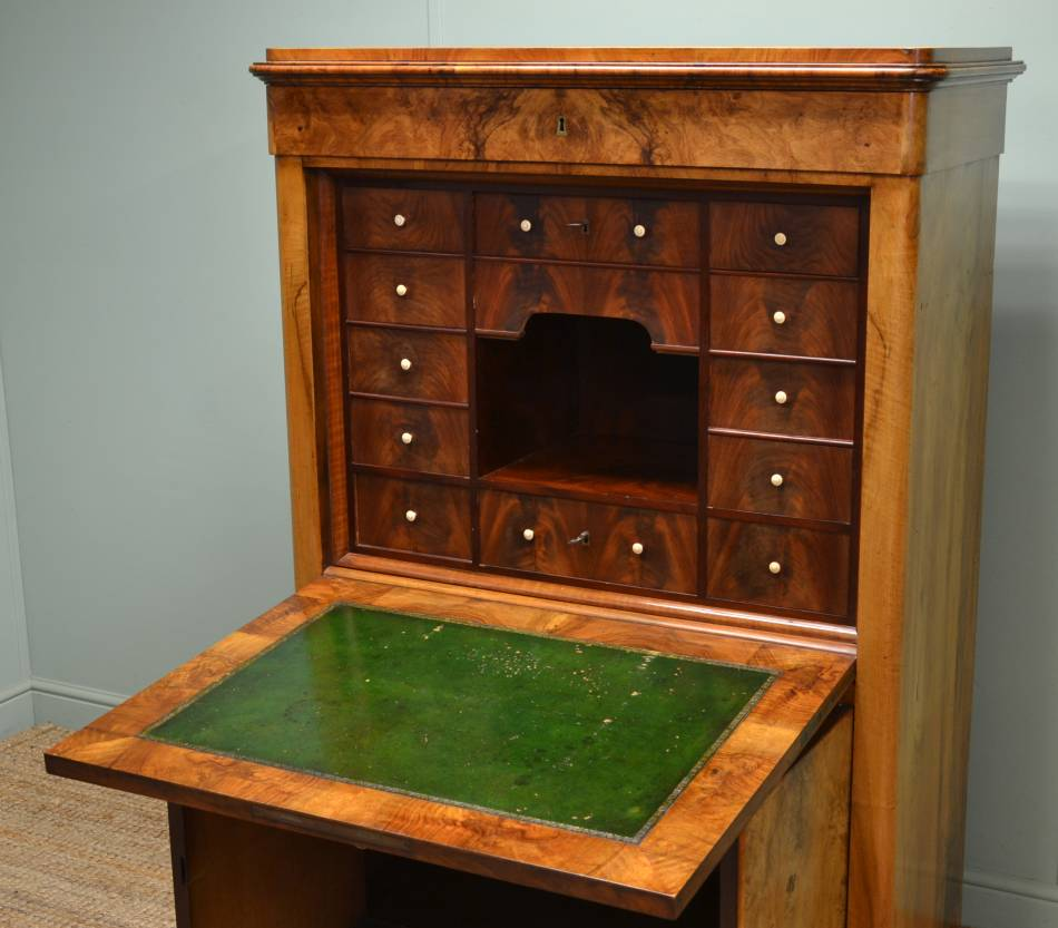 Unusual, Continental, Figured Walnut Antique Secretaire / Abattant.