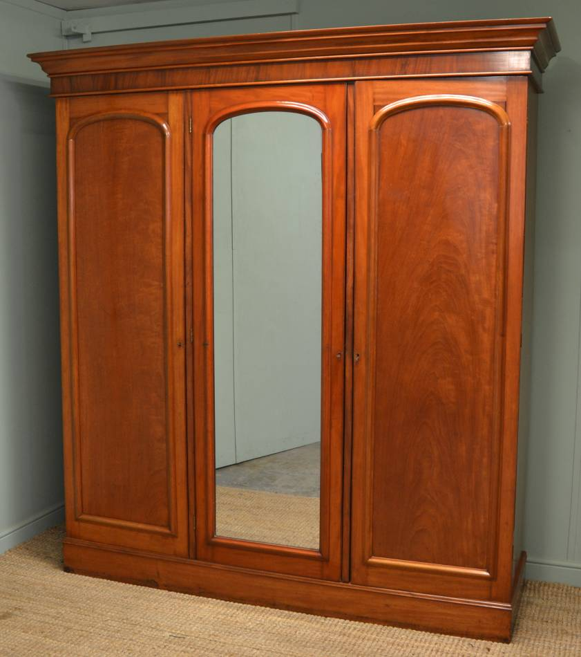 Victorian Mahogany Antique Triple Wardrobe.