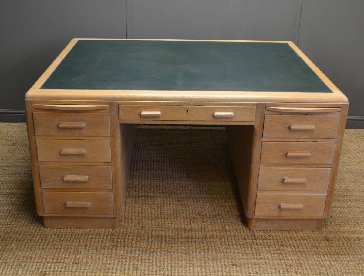 Large Art Deco Limed Oak Desk – By Simpoles of Manchester.