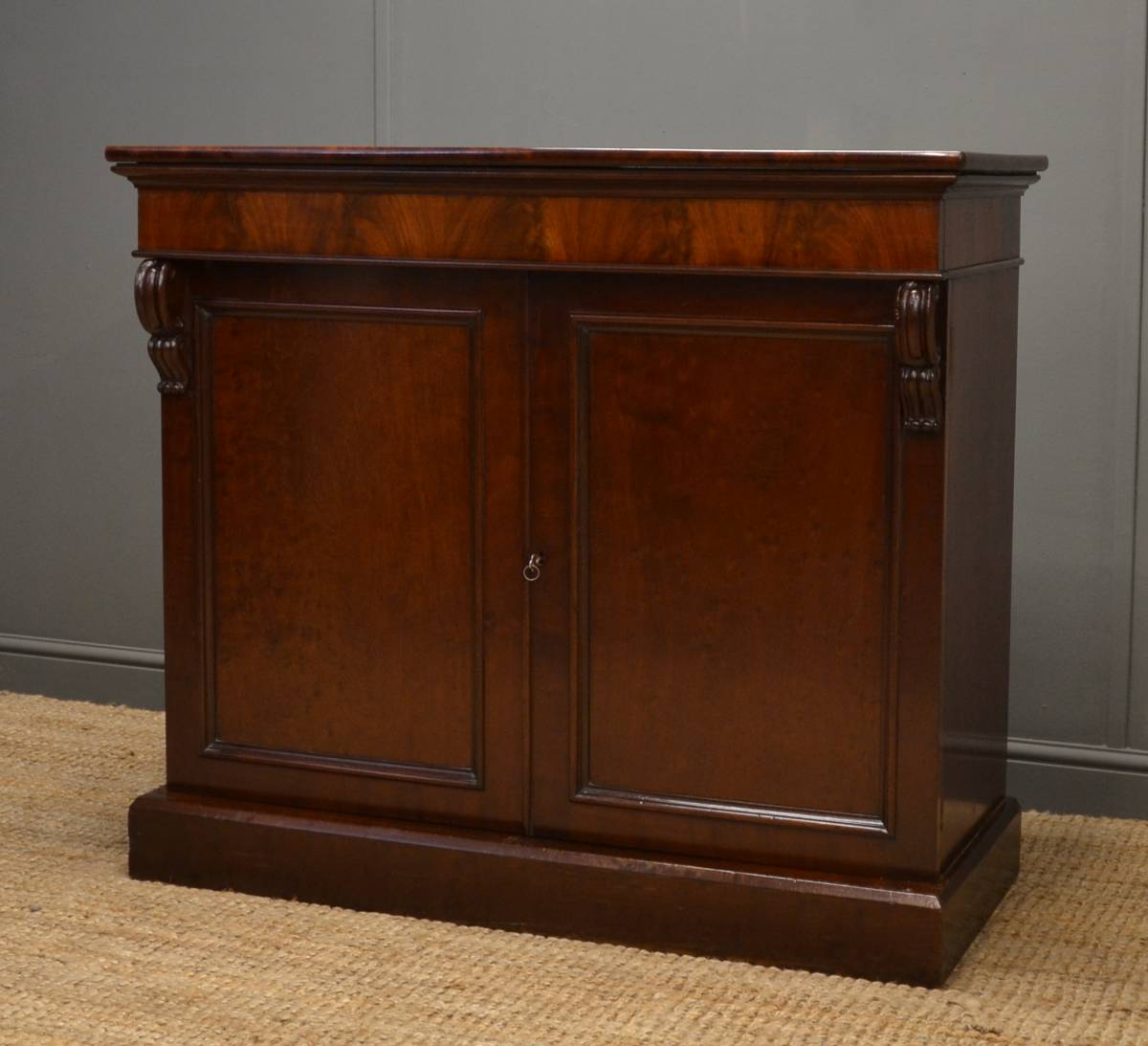 Quality, Regency, Rare, Plum Pudding Mahogany, Antique Cupboard.