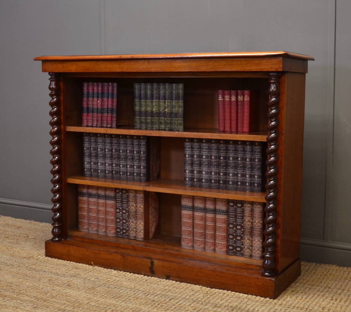 Victorian Mahogany Antique Open Bookcase with Barley Twist Columns.