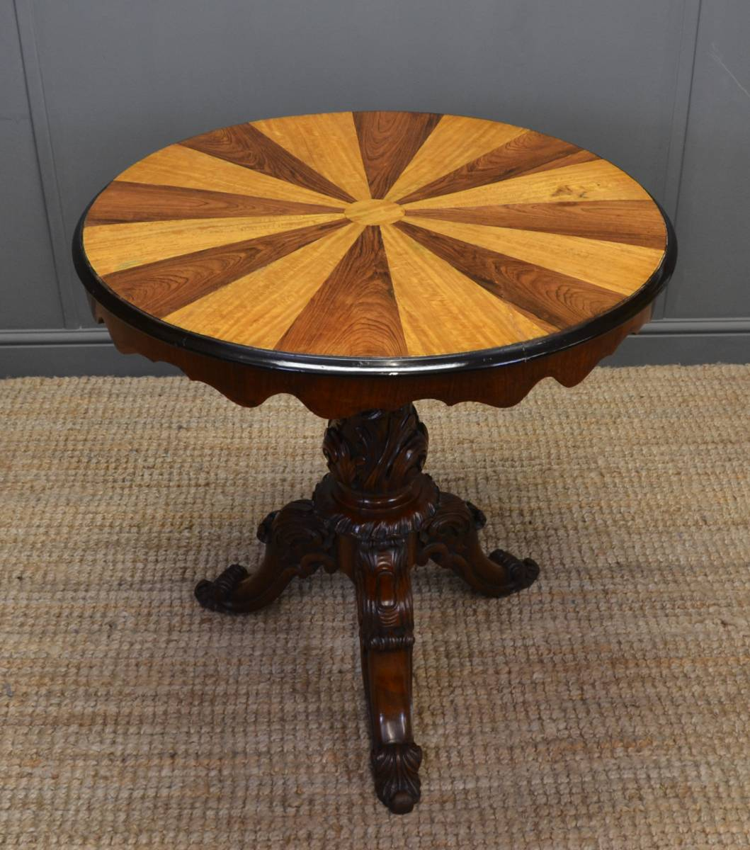 Stunning Antique Victorian Segmented Rose and Satinwood Top Occasional Table.
