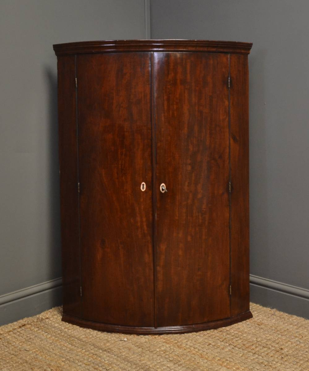 Georgian Mahogany Bow Fronted Wall Hanging Antique Corner Cupboard.
