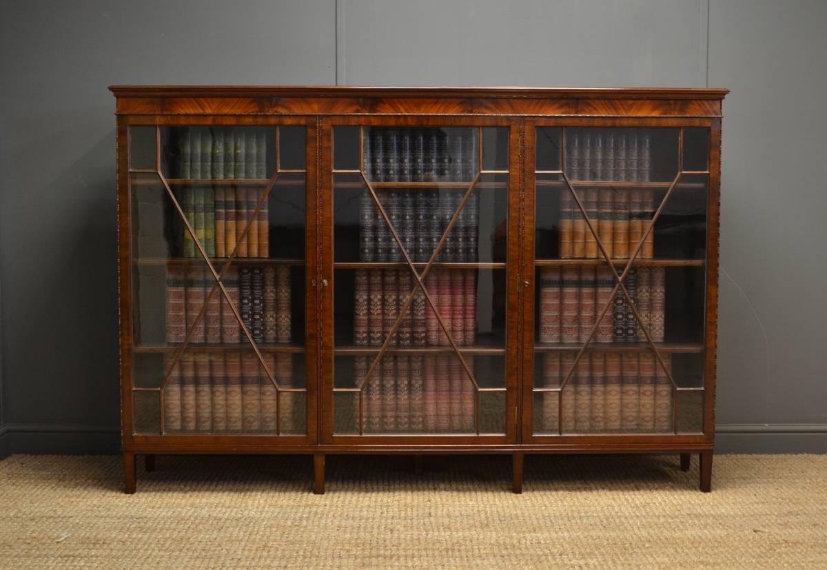 Superb Quality Antique Edwardian Mahogany Three Door Glazed Barristers Bookcase – by Duce & Co.